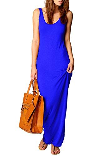 YMING Damen Strandkleid Ärmellos Casual Sexy Elastisch Maxi Kleid Einfarbig Sommerkleid,Blau,S / DE 36-38 (Blau Illusion Kleidung)