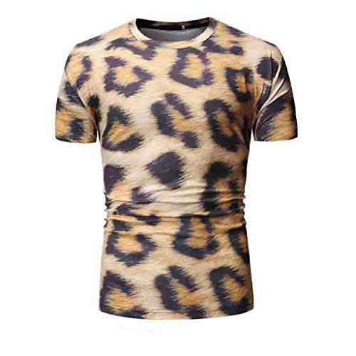 SoonerQuicker Camisa de Hombre Camiseta de Manga Corta con Estampado de Leopardo de Verano, para, Top blusaT Shirt tee(Amarillo M)