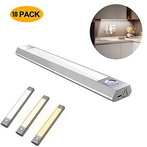 WSN Induktionslicht, 60 LED Bewegungsmelder Nachtlicht Garderobenleuchte USB Batteriebetriebenes, tragbares, kabelloses Licht für Garderobenschrank im Flur 10er Pack -