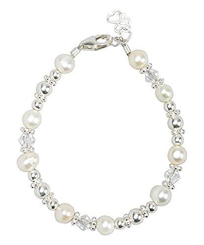 Cristallo sogno elegante bianco braccialetto di perle d' acqua dolce coltivate e cristalli Swarovski, in argento Sterling con perle di lusso Keepsake Girl Gift, Argento, cod.