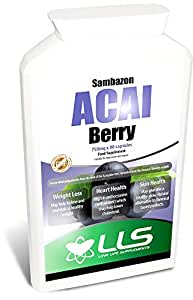 "LLS Pure Sambazon Freeze Dried Acai Berry | 2250mg per 3 Cap Serving | 90 Capsules / 1-3 Months Supply | 100% Natural With No Additives | Perfect for Weight Loss, Detox, Energising, Boosting Metabolism, Improving complexion, Reducing Appetite | Produced in the UK Under GMP Certification - ""Live Healthy, Love Life!"""