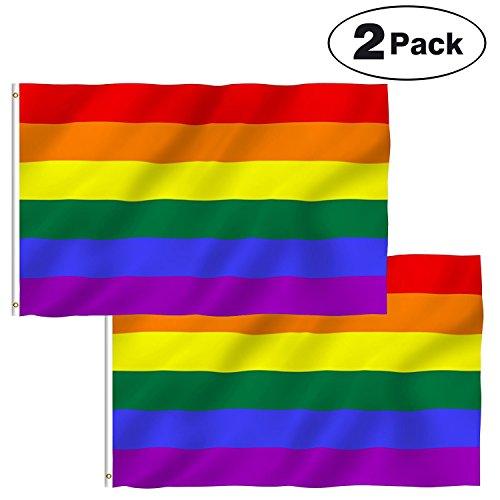 """Aboat Flaggen """"LGBT"""", Motiv: Regenbogen, für die Schwulenparade, 150x 90cm, 2 Stück"""
