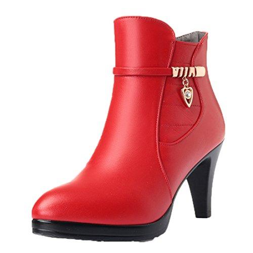 Honeystore Damen Stiefeletten High Heels Spitze Stiletto Ankle Boots mit Reißverschluss Schnalle 7cm Absatz Elegante Schuhe Rot 37CN (Spanische Spitzen-top)