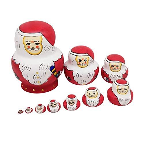 Ziel Weihnachtsmann Kostüm - JJSFJH 10pcs Russian Nesting Dolls Sie brachten auch Socken Holz Weihnachtsmann Schneemann Stapeln Toy Doll