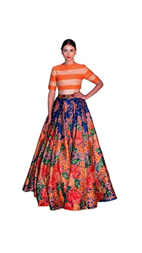 Varibha Women\'s MULTI Satin Lehenga