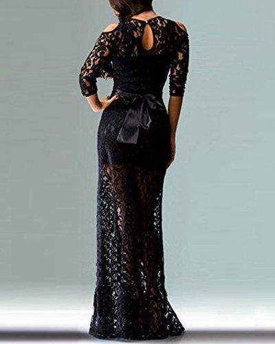 Lange Kleid der Frauen schnüren sich heraus Spitze Kleid Reizvolles Kleid für Partei Abschlussball Kleid Schwarz
