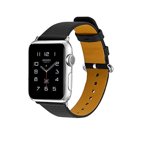 Luckhome Unisex Armbanduhr Digitale Sportuhr Damen Herren Digital Sport Uhr,Für Apple Watch Serie 1/2/3/4 42 / 44mm Deluxe Leder Denim Armband Uhrenarmband(Schwarz)