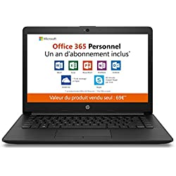 HP - 14-cm0998nf - PC Portable - 14'' HD SVA - Noir (AMD A4-9125, RAM 4 Go, eMMC 32 Go, AMD Radeon R3, Windows 10 mode S) + AZERTY + Office 365 Personnel 1 an
