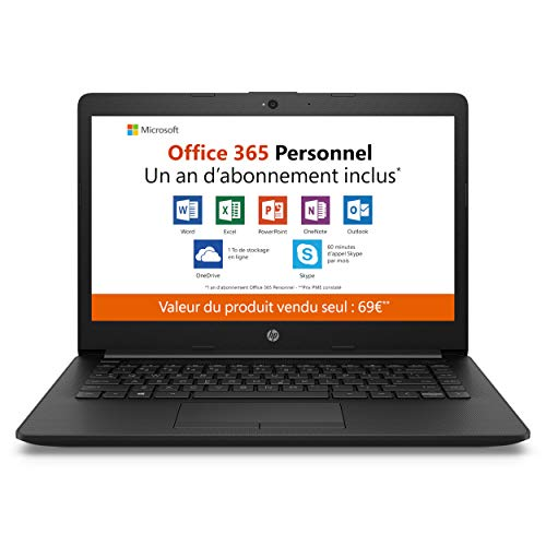 HP - 14-cm0998nf - PC Portable - 14'' HD SVA - Noir (AMD A4-9125, RAM 4 Go, eMMC 32 Go, AMD Radeon R3, Windows 10 mode S) + AZERTY + Office 365 Personnel 1 a