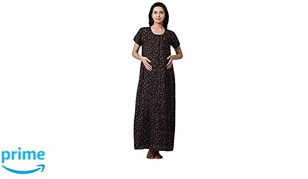 GOLDSTROMS Minelli Women s Cotton Fabric Front Button Open Night Gown  Black  Amazon.in  Clothing   Accessories 9c54e6f62