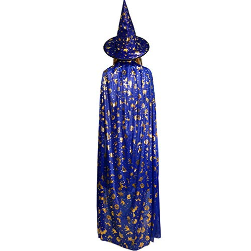 BaronHong Halloween Kinder Masquerade 5 Sterne Witch Wizard Kinder Umhang Cape + Hut (blau, ()