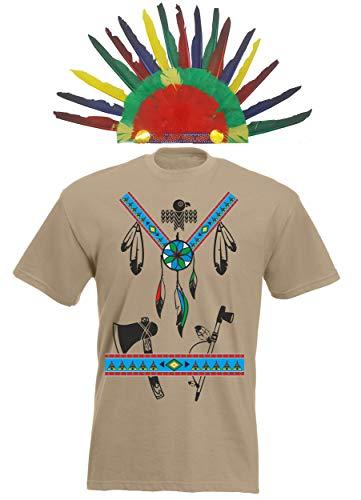 Crazy Horse T-shirt (aprom T-Shirt Indianer Kostüm Look - Karneval Mit Feder Federmütze Khaki (2XL))