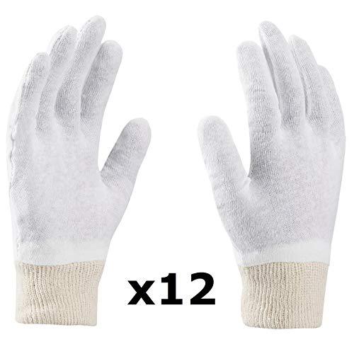 Gants en Coton, Gants Soft, Gants médicaux, Gants cosmétiques, Blancs, Doux et délicats pour Les Mains (9 (12 Paires), Blanc)