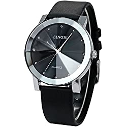 Findtime Sinobi Men Black Leather Strap Quartz Wrist Watches