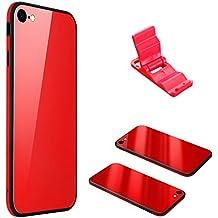 Funda iPhone 6, Cristal Vidrio Templado SXUUXB Moda Cool 3 en 1 iPhone 6s Ultra Híbrido Slim Silicona + Funda de Plástico PC Dura con Parachoques Rojo Skin Cubrir a prueba de golpes para Apple iPhone 6/6s 4.7 pulgadas + 1 x Soporte Gratis (Color Aleatorio)