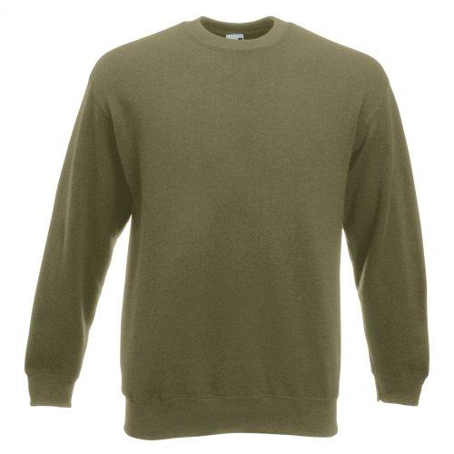 Fruit of the Loom Herren Sweatshirt Premium Set-In Sweat 62-154-0 Classic Olive L Fruit Of The Loom Classic Sweatshirt
