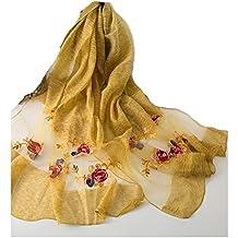 c0b222183fc3 WJJ Foulards en Soie de Broderie Exquis, Foulards brodés en Soie de Couleur  Unie multifonctionnelle