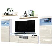 Wohnzimmer Wohnwand Anbauwand Schrankwand Almada, Korpus In Weiß Matt /  Front In Creme Hochglanz