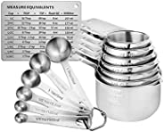 Measuring Cups and Spoons Set of 15, Durable Single Stainless Steel 6 Measuring Cups and 6 Measuring Spoons wi