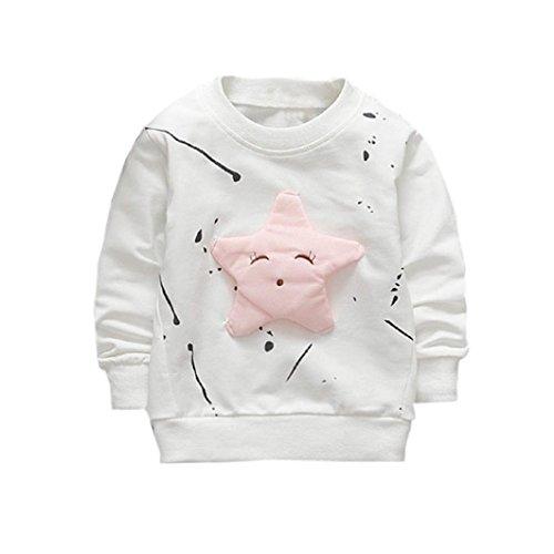 Kobay Junge Mädchen Baby Outfits Kleidung InfantStar Gedruckte Baumwolle Lange Ärmel T-Shirt (70/6 Monat, Blanc)