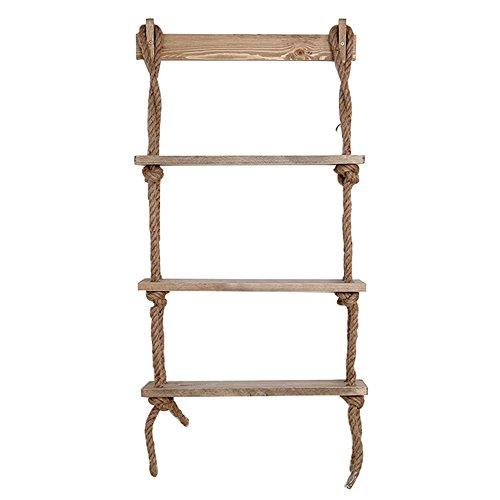 SJ Bücherregal 3-Schicht-Hanf-Seil-Aufhänger Wand-befestigtes Massivholz-Regal-Blumen-Stand-Wand-Oberflächen-Dekoration-Rahmen-Größe 60 * 15 * 100cm -