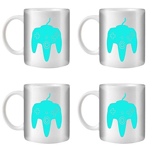 STUFF4 Tasse de Café/Thé 350ml/4 Pack Turquoise/N64/Céramique Blanche/ST10