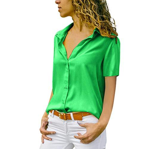 ITISME FRAUEN BLUSE Damen Casual Langarm Farbblock Streifen Button T Shirts Tops Bluse (L, Grün21) Mms Quad