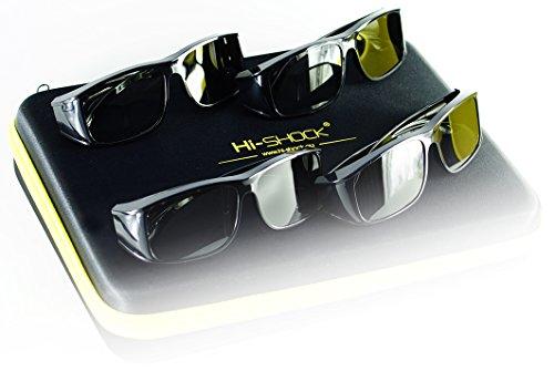 Hi-SHOCK® 4x universel lunettes 3d passive pour tous passive 4k 3D TVs & RealD cinéma films. haute qualité polarisée lunettes pour Sony®, LG®, Hisense®, Grundig®, Pansonic®, Philips®, Toshiba® TV. Compatible avec LG 3D cinema, Philips Easy 3D, Toshiba 3D natural, Vizio | compatible avec TY-EP3D20E / Sony TDG500P / LG AG-F315 inkl. Quad Case [ 4 Paires | 3D passive | étui ]