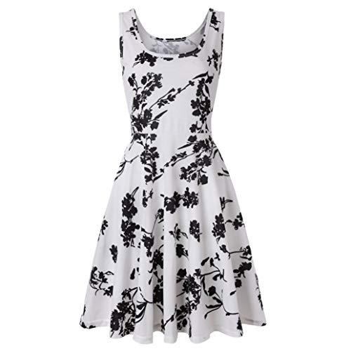 (TWIFER Damen Ärmelloses Drucken Halloween Abend Prom Kostüm A-Linie Kleider Blumenkleid)