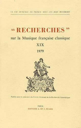 Recherches sur la Musique Française Cla...
