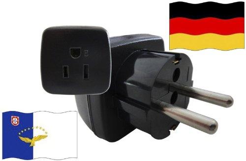 Preisvergleich Produktbild Reise-Adapter DEUTSCHLAND auf Azoren GER - AZOREN Travel Plug GERMANY-Reise (Schutzkontakt, 2200Watt)