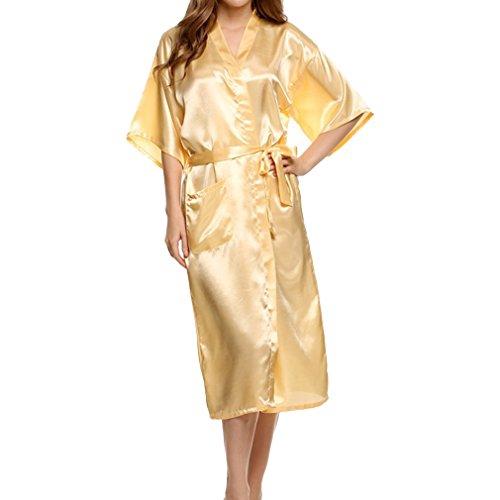 Juleya Morgenmantel Bademantel Babydoll Dessous Nachthemd Damen Sexy Lange Faux Silk Kimono Gelb XL (Lange Gelbe Dessous)