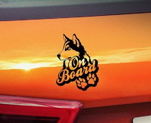Husky On Board – Auto Aufkleber Hund Doggy Puppy Baby Pet Funny Vinyl Love Herz Decor Home Live Kids Funny Art Wand Aufkleber Aufkleber (Home Decor Vinyl-schriftzug)