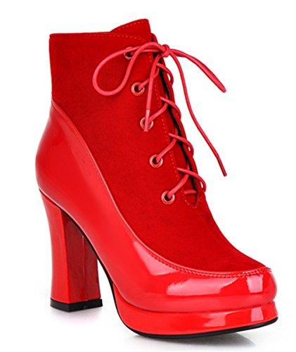 YE Damen Blockabsatz Plateau High Heel Wildleder Lack Stiefeletten mit Schnürung und 9cm Absatz Elegant Herbst Winter Schuhe Short Ankle Boots Rot