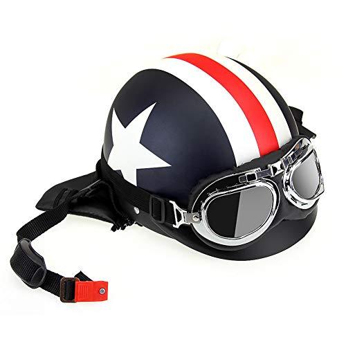 Harley casco moto maschio casco sicurezza femminile casco estivo mezzo casco protezione solare casco protezione UV e Capitan America-Matte-black