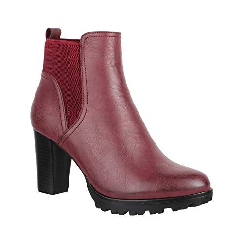 Elara Damen Stiefelette |Trendige Ankle Boots | Chunkyrayan BZ66019-KB Burgundy-37 -