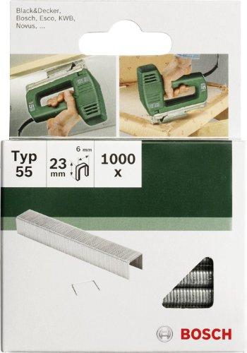 Bosch 2609255828 Set de 1000 agrafes à dos étroit Type 55 Largeur 6 mm Epaisseur 1,08 mm Longueur 19 mm