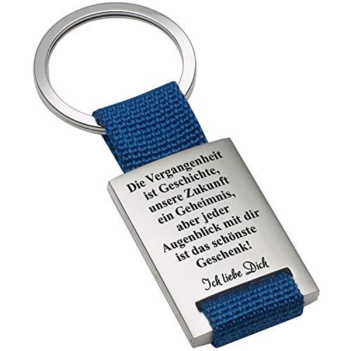selanhänger - Vergangenheitsspruch in Blau: Schlüssel-Anhänger mit Gravur und romantischem Spruch - optional mit Wunschtext auf der Rückseite personalisiert ()