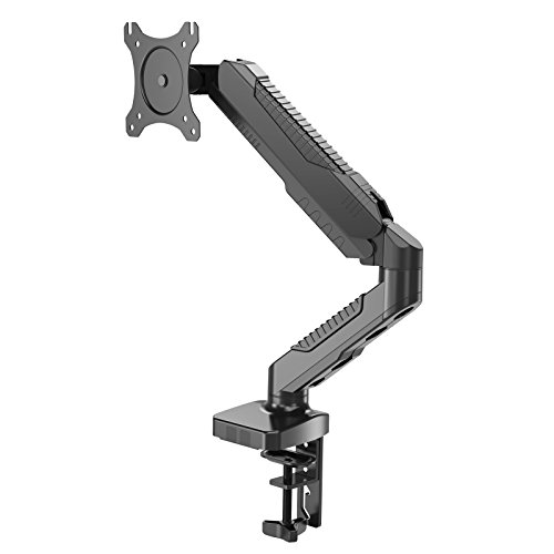 HFTEK - Soporte de Monitor - Soporte de Altura Ajustable de Monitor con Brazo de resorte de gas para Pantallas de 15 a 34 Pulgadas - VESA 75x75/100x100 - Brazo soporta hasta 6.5kg (HF12GMCB)