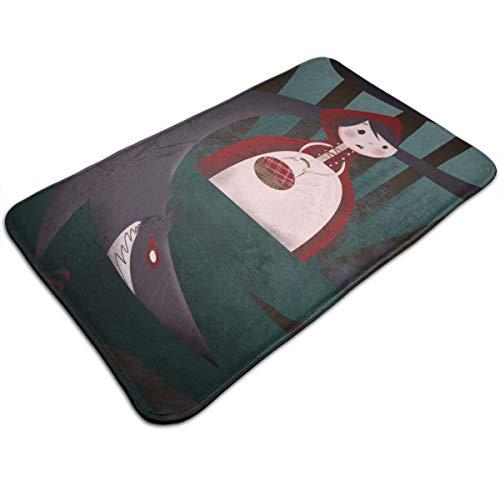 Dimension Art Little Red Riding Hood and Big Wolf Memory Foam Bath Mat Non-Slip Absorbent Super Cozy Soft Velvet Bathroom Rug Carpet, 19.7