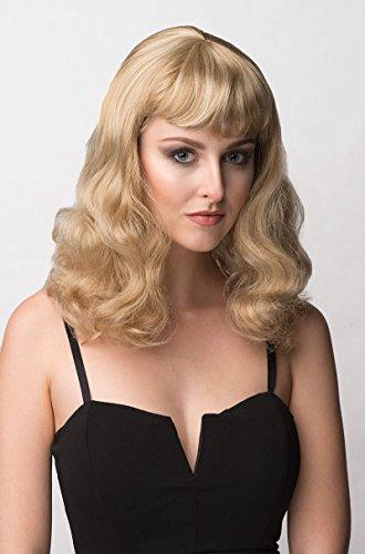 Annabelles Wigs Damenperücke, gewellt, kurzer Pony, Modell: (Up Pin Blonde Perücke)