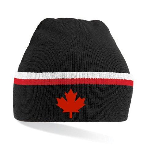 Canada/Kanada Strickmütze Teamwear|gestreift schwarz-rot