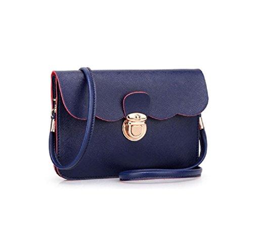 Borsa Familizo Elegant A tracolla in pelle delle donne pochette borsetta Tote borsa Hobo Messenger (Blu scuro)