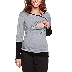 STRIR-Camisetas-Mujer-Manga-Larga-Lactancia-Maternidad-Enfermeria-CamisasCamiseta-de-Mujer-Maternidad-de-Doble-Capa-premam-Lactancia-Blusa-de-Manga-Larga-Lactancia-Top-Camiseta-Blusa-XXL-Gris-2
