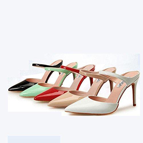 L@YC® Frauen Sommer Hausschuhe Spitze High Heels Damen Word GüRtelschnalle Mit Sandalen Brown