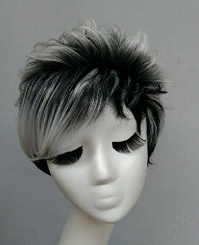 Peluca pelo sintético Ombre color negro blanco corto