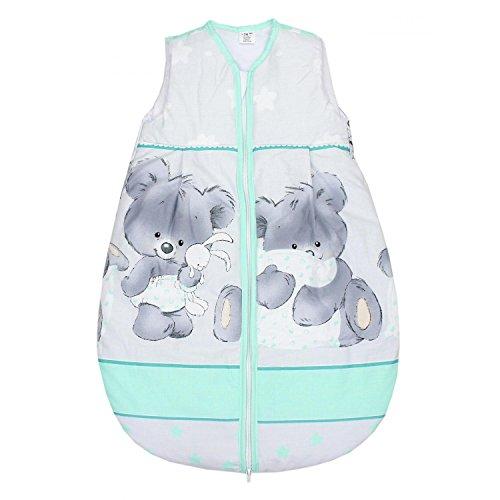 TupTam Babyschlafsack Wattiert Ohne Ärmel ANK002, Farbe: Bärchen Grau/Grün, Größe: 104-110