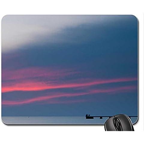 Pescatore in beautiful Sky al crepuscolo Mouse Pad, Tappetino per Mouse-Mouse Pad), colore: azzurro cielo
