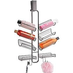 mDesign rangement de douche à suspendre à la porte de la douche – étagère de douche pratique sans perçage – paniers de douche suspendus pour rangement des produits de douche – gris graphite