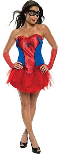 el Sexy Spiderman SPIDERGIRL Spiderwoman Superheld Tutu Halloween Film Kostüm Kleid Outfit UK 6-18 - Rot, UK 12-14 (Spiderman Und Spiderwoman Kostüme)